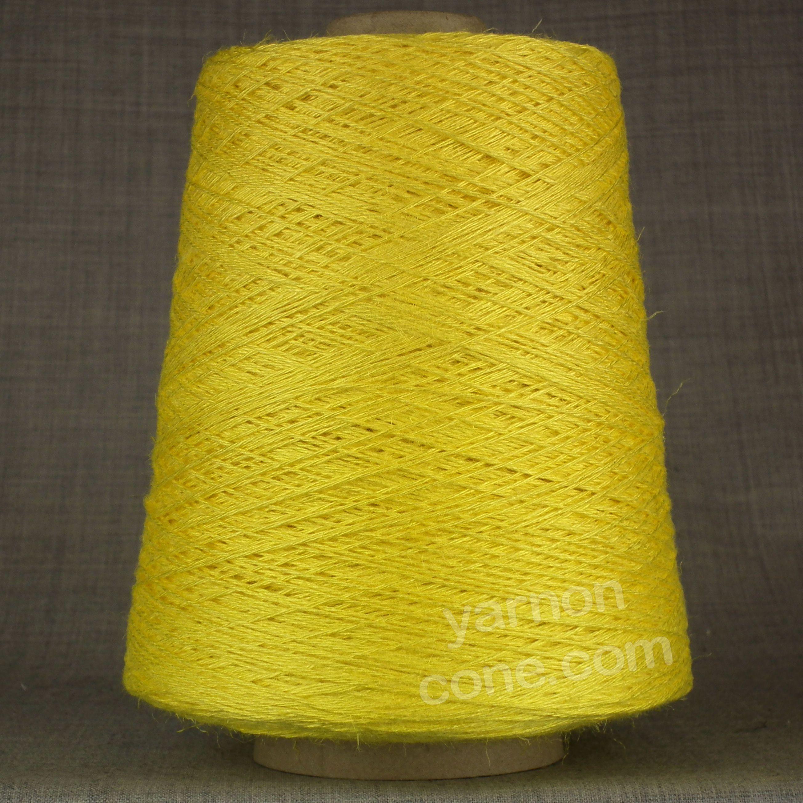 soft 4 ply viscose linen yarn on cone knitting weaving crochet lemon yellow