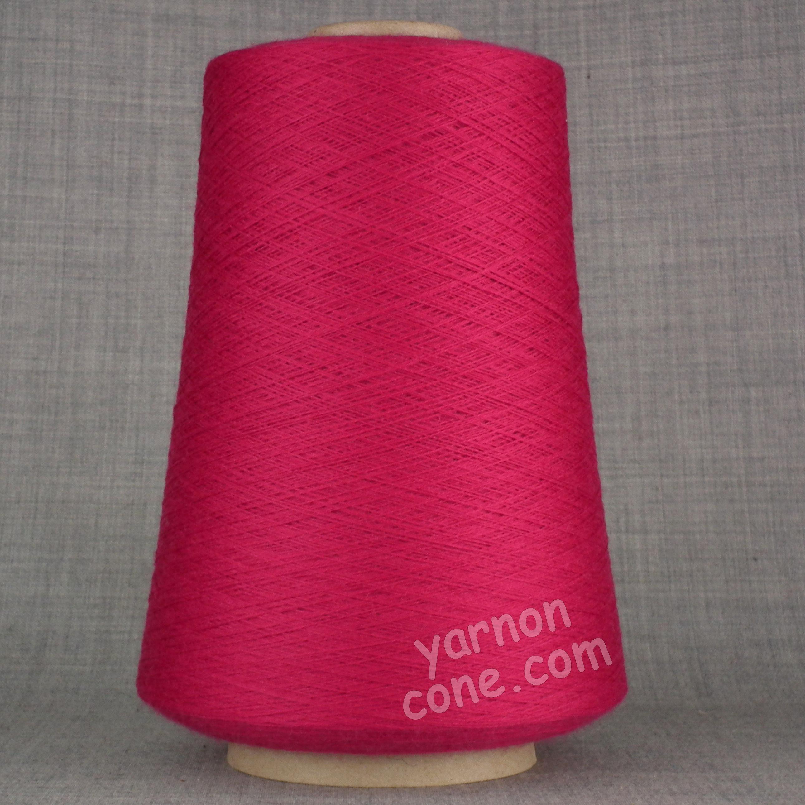 2/60NM extra fine merino wool knitting yarn on cone cobweb weight cerise pink
