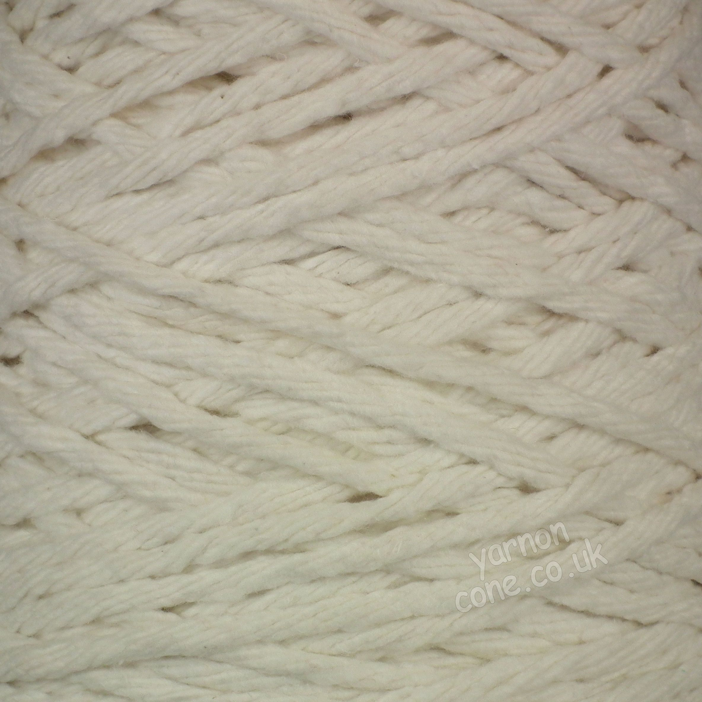 chunky thick macrame cotton recycled yarn fibre ecru cream undyed cotton coned uk supplier